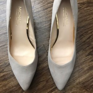 Nude Suede Heels by Michael Shannon